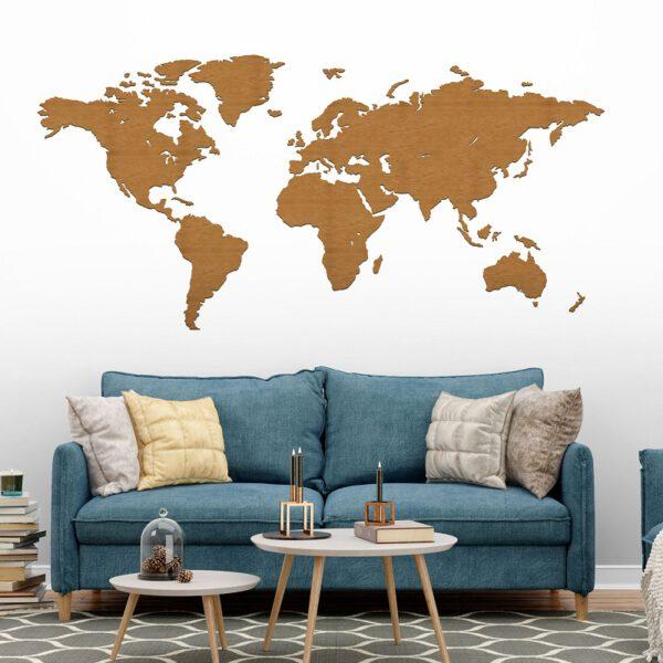 Drewniana mapa świata na ścianę w kolorze orzech